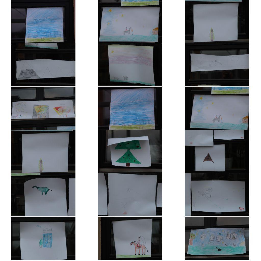 Kinderweihnacht 2020: gemalte Bilder am Fenster
